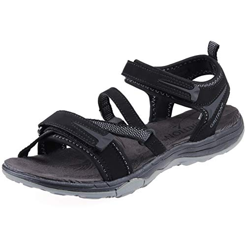 GRITION Womens Walking Sandals Lightweight Waterproof Athletic Open Toe Adjustable Strap Elastic Cross-tie Durable Slip Resistance Outdoor Hiking Arc Support Casual (7.5 US, Black)