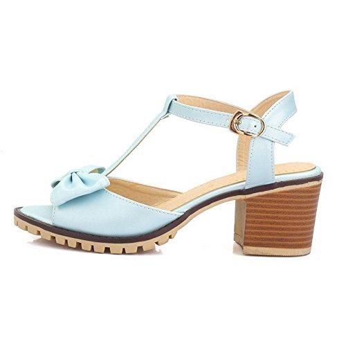AllhqFashion Hebilla Puntera Abierta Tacón ancho Sólido Sandalias de vestir con Lazos Azul