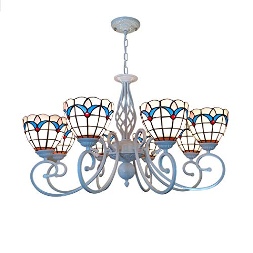 (Tiffany Style Chandelier Lamp, 8 Heads Stained Glass Shade Ceiling Hanging Light, Zinc Alloy Support Pendant Light for Dining Room Living Room, W31''H18.5'')