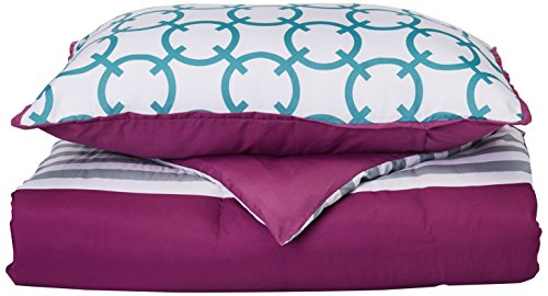 Intelligent Design Halo Comforter Set Twin/Twin Xl Size - Purple, Teal, White, Geometric, Stripes – 4 Piece Bed Sets – Peach Skin Fabric Teen Bedding For Girls (Halo Kids Bedding)