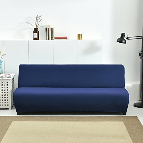 (HM&DX Stretch Armless Sofa Bed Cover,Polyester and Spandex Waffle Weave Knitted Solid Color Futon slipcover Sofa Cover-Navy 63-75in)