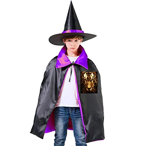 Tiger's Head and Tiger Face Halloween Shawl and Witch Hat for Children Kids Purple