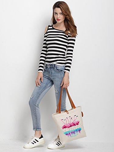 IN.RHAN Women's Flamingo Dance Watercolour Canvas Handbag Tote Bag Shoulder Bag