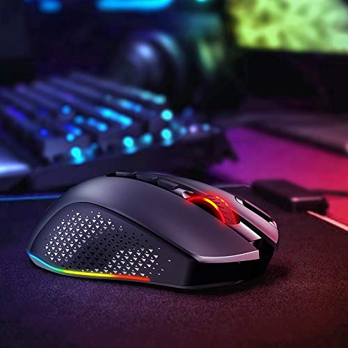 VictSing Wireless Gaming Mouse, 9 RGB Backlit Modes, Up to 10000 DPI, 10 Programmable Buttons Fire Button, Type-C Rechargeable PC Mouse for PC Gamers