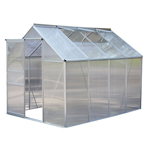 Giantex 8.2×6.2Ft Greenhouse Aluminum Frame All Weather Walk-In Heavy Duty Polycarbonate(2 skylight)