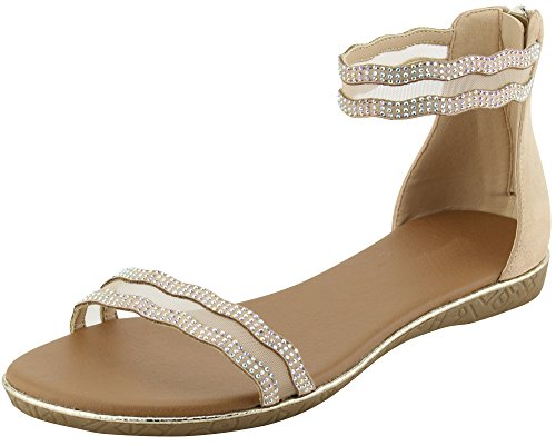 Cambridge Select Women's Open Toe Single Band Ankle Strappy Crystal Rhinestone Mesh Flat Sandal (8 B(M) US, Beige)