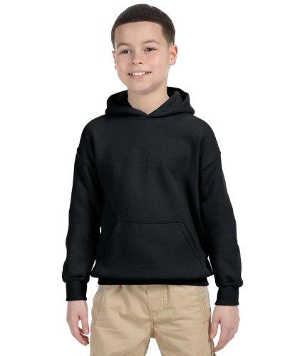 Gildan Youth Heavy Blend Hooded Sweatshirt (Black) (Small)