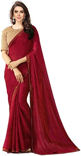 8adfa32b52 Traditional Fashion Women's White Rangoli Saree With Blouse Piece  (TFS1724_New _Maroon_ Free Size): Amazon.in: Clothing & Accessories