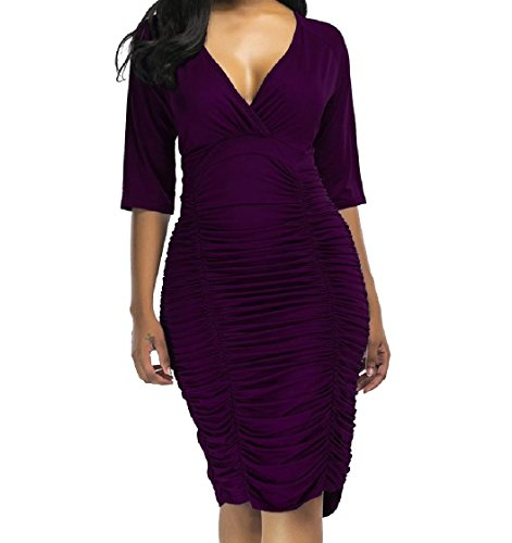 Red Wine Size Neck and Plus Women Maxi Deep Coolred V Dress Pure Mid Draped Color tXwO6Tq