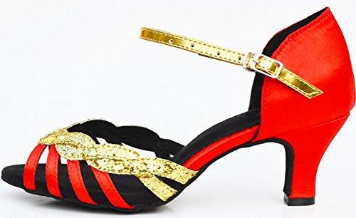 Abby Femmes Latin Tango Cha-cha Salsa Fête Moderne Personnalisé Talon Peep-toe Satin Professionnel Danse-chaussures Rouge