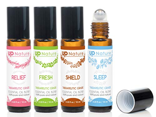 Wellness Essential Oil Roller Set - Migraine Relief, Thieves Oil, Sweet Dreams, Citrus Essential Oil - Easy Application, Pre-Diluted Roll-On - Kid Safe - Leak-Proof Rollerball - No Diffuser - Bottles Perfume Roll