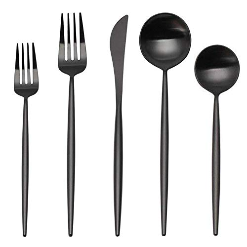 Matte Silverware Set, SHARECOOK 20-Piece Stainless Steel Satin Finish Flatware Set Service for 4, Kitchen Utensil Set, Tableware Cutlery Set for Home and Restaurant (Matte Black 20P, 20-Piece) (Unique Flatware)