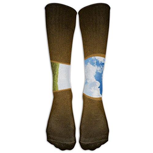 Girl Keyhole Green World Tube Stocking Casual Socks Trouser Calf High Athletic Socks Keyhole Tube