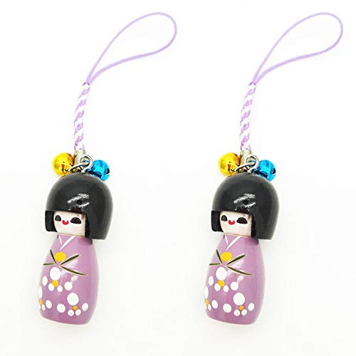 XMHF Handcrafted Wood Japanese Kimono Kokeshi Doll Pendant Strap Hanger for Cell Phone 2Pcs