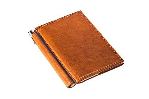 Mini Leather Journal with Pen 3x4 in Horween Leather Cover Extra Small Moleskine Volant Notebook (Natural)