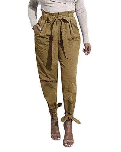 Trousers Pantaloni Cachi Alta Traspirante Vita Donna Pantaloni Tomwell Larghi Sciolto Casuale avere Vintage Estate Cintura qxnaF8wHP