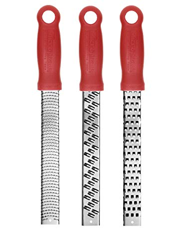 Microplane Classic Set of 3 Fine, Ribbon, and Coarse Graters and Zesters, Red