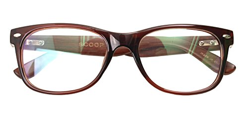 Real Bamboo Wood Temples Eyeglasses Frames Men Women Retro Spectacle Wooden Arm Foot Eyewear (BROWN - Prescription Spectacles