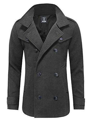 TAM WARE Mens Classic Wool Double Breasted Pea Coat TWCC06-CHARCOAL-US L