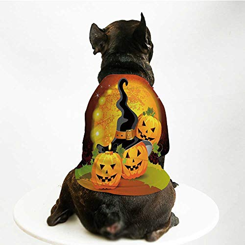 (YOLIYANA Halloween Stylish Pet Suit,Witches Hat Spooky Pumpkins Magical Night Autumn Nature Full Moon for Small Medium Big Dogs,M)