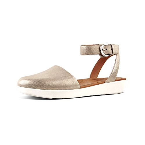 Metallic Femme Toe Closed Ballerines Fitflop Silver À Metallic Cova Sandals Bride Tm Cheville qtFPwv