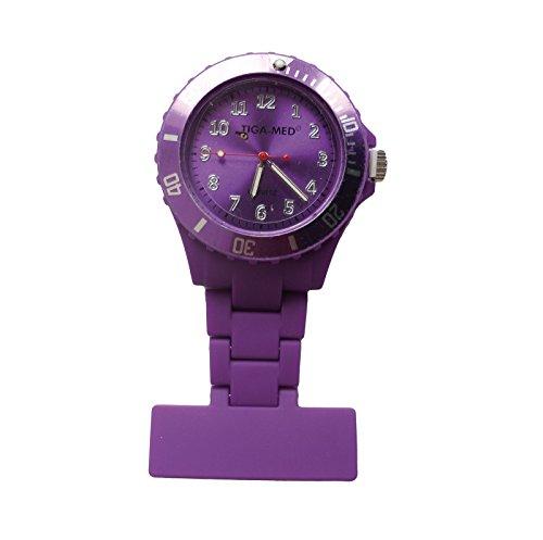 Schwesternuhr Typ: Trend Design Silikon Farbe: Violett 1 Stück Schwesternuhren mit Anstecknadel Kitteluhr Krankenschwesteruhr Tiga-Med