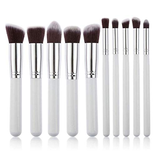 Miss & Mam 10x Makeup Brush Set Cosmetic Foundation blending pencil brushes Beauty Tools (White-Silver)