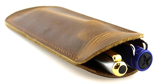 Genuine Leather Double Pen Case/Sleeve/Slip, by Timber Ridge -