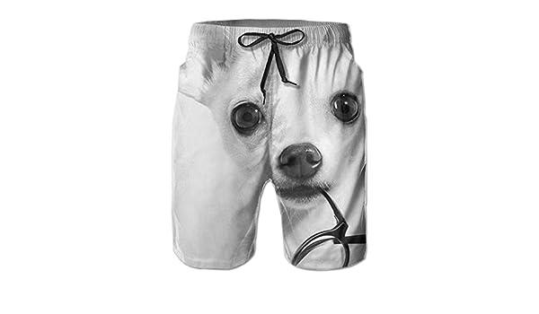 Tyugvvo Dog Wearing Glasses Funny Swim Trunks Quick Dry Beachwear Sports Running Swim Board Shorts Mesh Lining