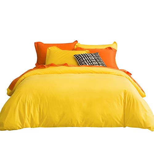 SUSYBAO 2 Pieces Duvet Cover Set 100% Natural Cotton Twin/Single Size 1 Duvet Cover 1 Pillow Sham Bright Yellow Luxury Quality Soft Breathable Comfortable Fade Resistant Solid Bedding with Zipper Ties (Bedding Bright)