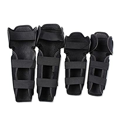 Rungear Shin Guards Adult Elbow & Knee Pads Protector Flexible Breathable Adjustable Elbow Armor for Motorcycle Motocross Racing Mountain Bike, One size Fits Most, 4 Pieces Black (Black-P01) : Sports & Outdoors