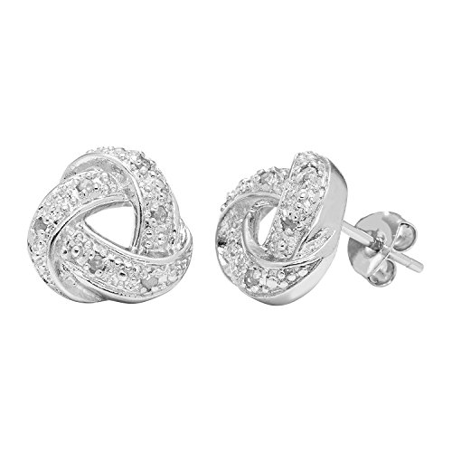 JewelExclusive Sterling Silver 1/10 cttw Diamond Knot Post Earring