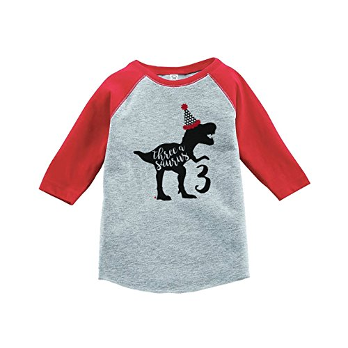 7 ate 9 Apparel Three Third Birthday Dinosaur Red Baseball Tee 3T (Apparel Red Toddler)