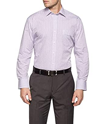 Van Heusen Men's Classic Relaxed Fit Shirt Lilac Blue Check, Lilac, 40 86