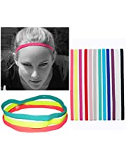Lightweight Sports Elastic Headband Non-Slip Silicone Headband, Newest Fitness Fashion Color Headband Hair Accessories Suitable for Men, Women, Girls and Teenagers 12 Pieces