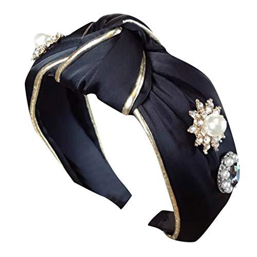 Women's Simulation Crystal Beads Rhinestone Knotted Headband Hairband Head Wrap Accessories (E)