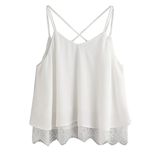 BCDshop Crop Tops for Women Summer Teen Girl Cute Lace Chiffon Cami Top Camisole (White 1, Asian Size:XL=US 12-14)