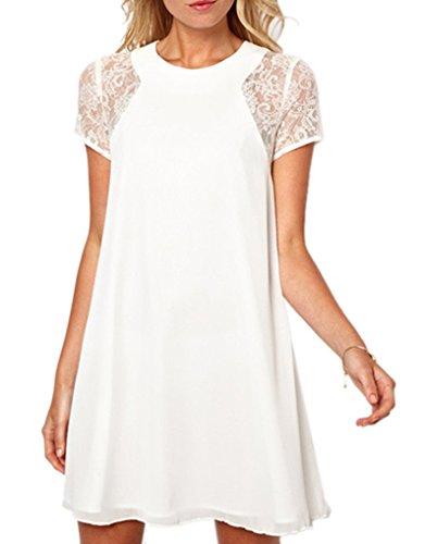 PAKULA Women's Short Sleeve Keyhole Back Lace Shift Dress