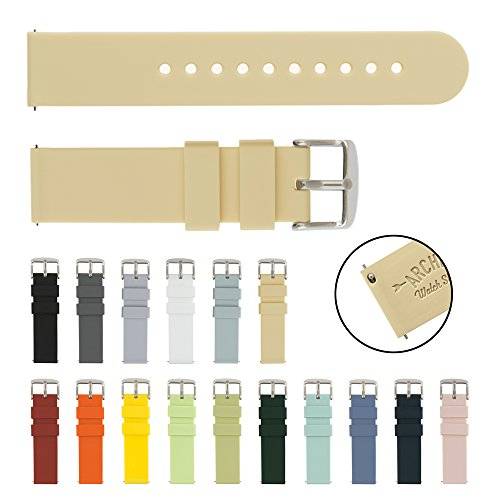 Archer Watch Straps | Silicone Quick Release Soft Rubber Replacement Watch Bands for Men and Women, Watches and Smartwatches (Sand, 18mm)