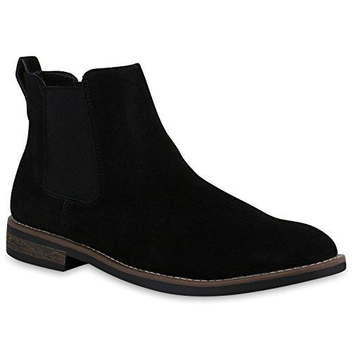 Stiefelparadies Herren Chelsea Boots Echtleder Schuhe Stiefeletten Holzoptikabsatz Flandell Schwarz