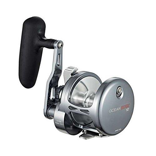 Maxel Ocean Max Single Speed Lever Drag Conventional Fishing Reel OM10G, Silent Retrieve, Gunsmoke /Silver, 80-550 Line Capacity - 4.5:1 Gear Ratio