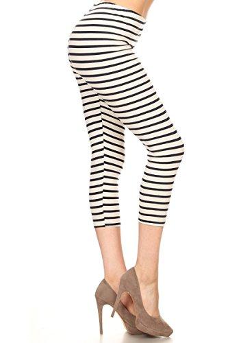 Leggings Depot Women's Premium Cotton Soft Capri Yoga Pants NCL27 (Medium, Blue Stripes) (Blue Stripe Leggings)