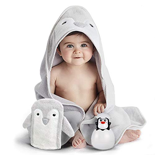 Happy & Sweet baby gift set. Organic bamboo penguin bath towel with hood, mitt washcloth and squirt bath toy for bathtub. Perfect Baby shower gifts for boys and girls. FREE Bonus included]()