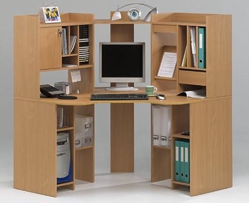 Pc eckschreibtisch  PC-Ecktisch Eckschreibtisch Buche Computertisch: Amazon.de: Küche ...