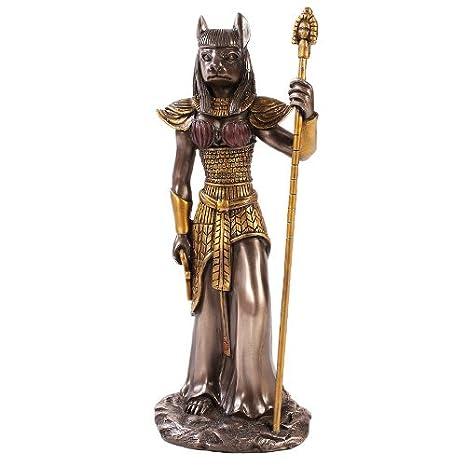 Pacific Trading Figura Decorativa de Gato Egipcio de Bronce Fundido en frío, 30 cm: Amazon.es: Hogar