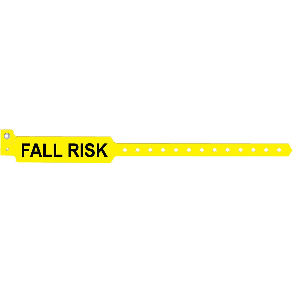 PDC Healthcare WBCFRA-3 1 Confident Fall Risk Alert Wristband, Permanent Snap Closure for Adult, 13'' Length, 3.875'' x 1'' Information Area, Yellow (Box of 500)