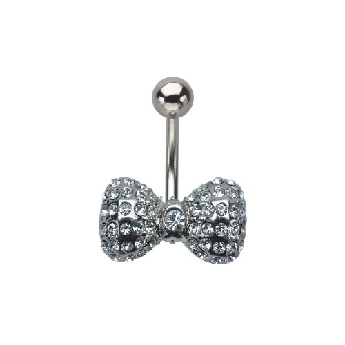 Multi Clear Jewel Bow Belly Ring