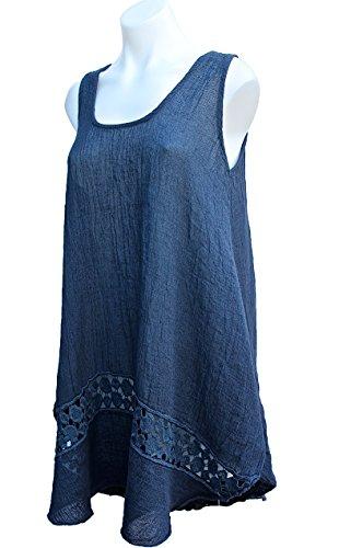 [Terra Nomad's Women's Girls Linen & Cotton Summer Dress w/ Crochet Detail - Dark Blue] (Italy Cotton Dress)