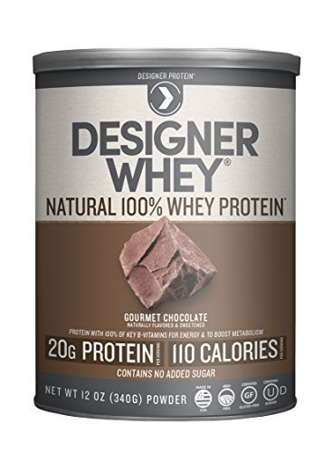 Designer Protein 100% Premium Natural Whey Protein Powder with Acti-Blend, Gourmet Chocolate, 12 Ounce Canister by Designer Protein