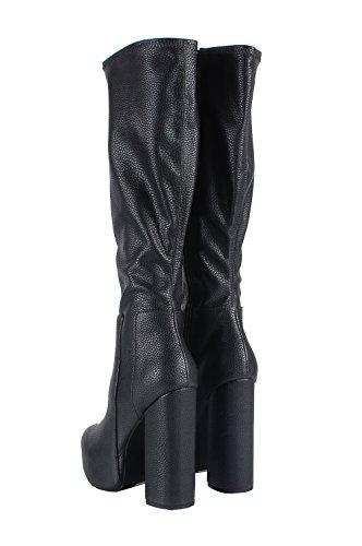 Jeffrey Campbell Bedelia KH Shoes Boots Black–Botas negras de piel negro